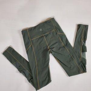 Athleta Leggings Army green with mesh detail